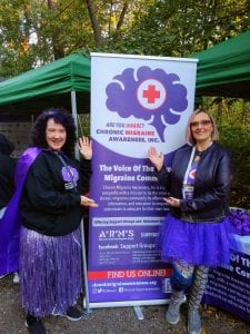 Cat Charrett Dykes and Jeanette Rotundi at a Chronic Migraine Awareness event
