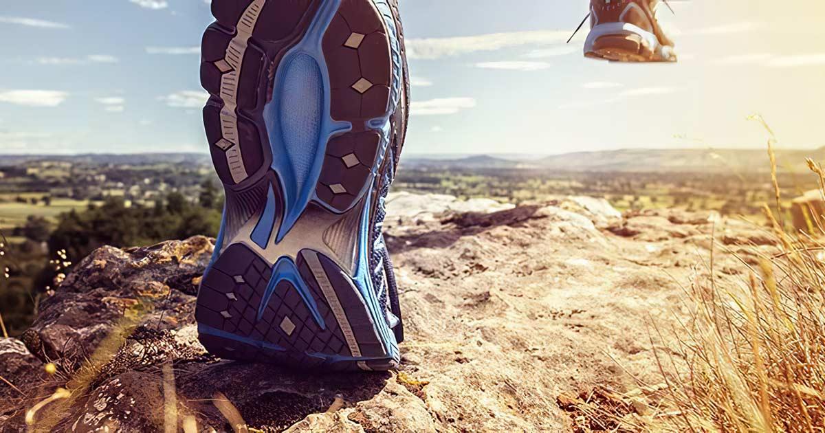 Shoes running across a landscape.